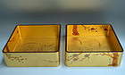 Pair Gilded Gold lacquer maki-e Boxes, Plum Blossoms