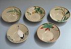 19th c. Kiyomizu Rokubei IV E-gawari Pottery Bowl Set