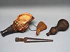 Japanese Samurai Battle Gear, Horn, Powder flasks, Musket Pouch