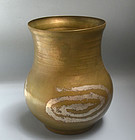 Mid Century Japanese Hand Formed Copper Vase w/ Silver