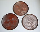 3 Antique Japanese Sanuki Carved Trays, Lotus