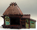 Very Rare Bairin Yaki House Shaped Okimono