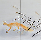 Antique Japanese Screen, Fox by Kimoto Taika