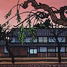 Clifton Karhu Woodblock Print, Kurashiki Willows