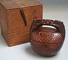 Antique Japanese Mokugyo Converted Sweets Box