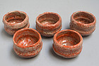5 Japanese 19th c. Hanyu-Yaki Raku Sencha Tea Cups