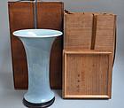 Antique Japanese Blue Gu-Form Koi Vase by Seifu Yohei