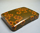 1950s Japanese Green Lacquer Suzuri Bako Writing Box