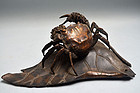 Antique Japanese Bronze Crab on Lotus Leaf