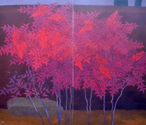 Nanten by Ono Tosaburo, 1956 Exhibited Japanese Screen