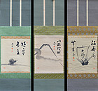 Three Scroll Set by Japanese Zen Priest Kutsu Deiryu