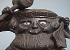 Antique Japanese Mingei Daikoku-zo, Signed & Dated 1699