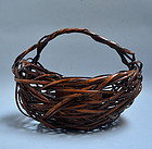 20th century Japanese Woven Bamboo Art Basket