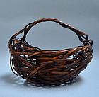 20th century Japanese Woven Bamboo Art Basket
