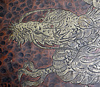 Antique Japanese Hand Formed Copper Tray with Silver Dragon