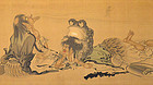 Framed Japanese Silk Painting of Sennin by Kodo
