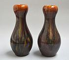 Antique Japanese Takatori Bukka Vase Set