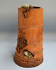 Bamboo Vase Carved with Frogs, Usho