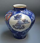 Antique Japanese Fukagawa Shishi Lion Vase