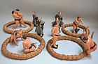 Antique Set of Japanese Tsuchi Ningyo, Sumo Wrestlers