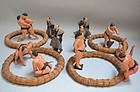 Antique Set of Japanese Tsuchi Ningyo, Sumo Wrestlers