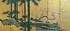 Antique Japanese Shochikubai Gold Screen
