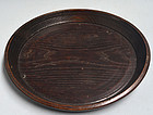 Antique Chestnut Mingei Tray with Copper Staple Repairs