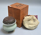 Celadon Koro Incense Burner endorsed by Tomioka Tessai