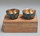Set Silver Lined Chinese Cloisonne Sake Cups