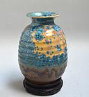 Japanese Crystal Glaze ceramic Vase by Koraku