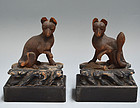 Small Pair Edo p. Japanese Shrine Foxes