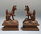 Pair Edo p. Japanese Shrine Foxes