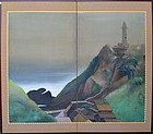Antique Japanese Painted Silk Screen, Lighthouse