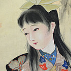 Antique Japanese Bijin Scroll, Girl in Autumn, Gyokuun