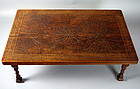 Taisho period Sanuki Bori Table carved with Lotus