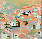 Important Mid Century Japanese Framed Painting, Miwa Chosei