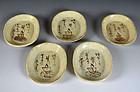 Antique Japanese Shino-Oribe Plate Set, Rokkasen