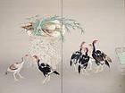 Shamo, Taisho-Showa Japanese silk Screen, Seiryu