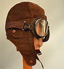 WWII Japanese Fighter Pilot Leather Helmet and Goggles
