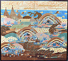 Okinawa Bingata Screen, Exhibited 1937 Nitten by Kusuda Bosen