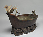 Antique Japanese Bronze Ikebana Suiban Flower Basin
