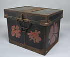 Edo p. Japanese Strong Box with Family Crest