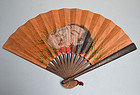 Kubi-e Samurai Tessen War Fan Painted with Head