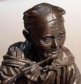 Signed Japanese Bronze Image, Monkey Handler
