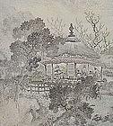 PAIR EDO p. Japanese NANGA SCREENS, BUNRIN