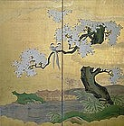 18th c. Japanese GOLD KANO SCREEN, TAKANOBU