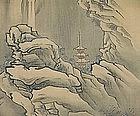 EDO p. Japanese KANO WINTER LANDSCAPE SCROLL, BUZEN