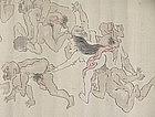 Edo p. Japanese Battling Revelers Erotic Shunga Scroll