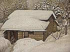 Gorgeous Japanese Winter Nihonga Screen, EISEI