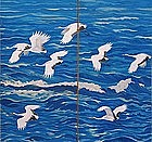 Fine 6 panel Screen, Japanese Artist Okada Renseki